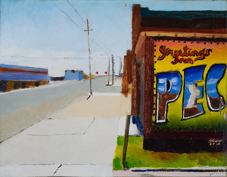 Richard Sober's painting: Greetings From Pecos